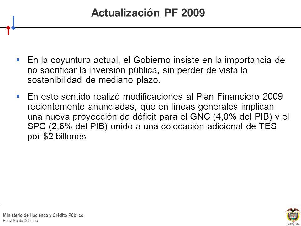 HACIA UN MINISTERIO AGIL, ACERTADO Y CONFIABLE Ministerio de Hacienda y Crédito Público República de Colombia Actualización PF 2009 En la coyuntura actual, el Gobierno insiste en la importancia de no sacrificar la inversión pública, sin perder de vista la sostenibilidad de mediano plazo.