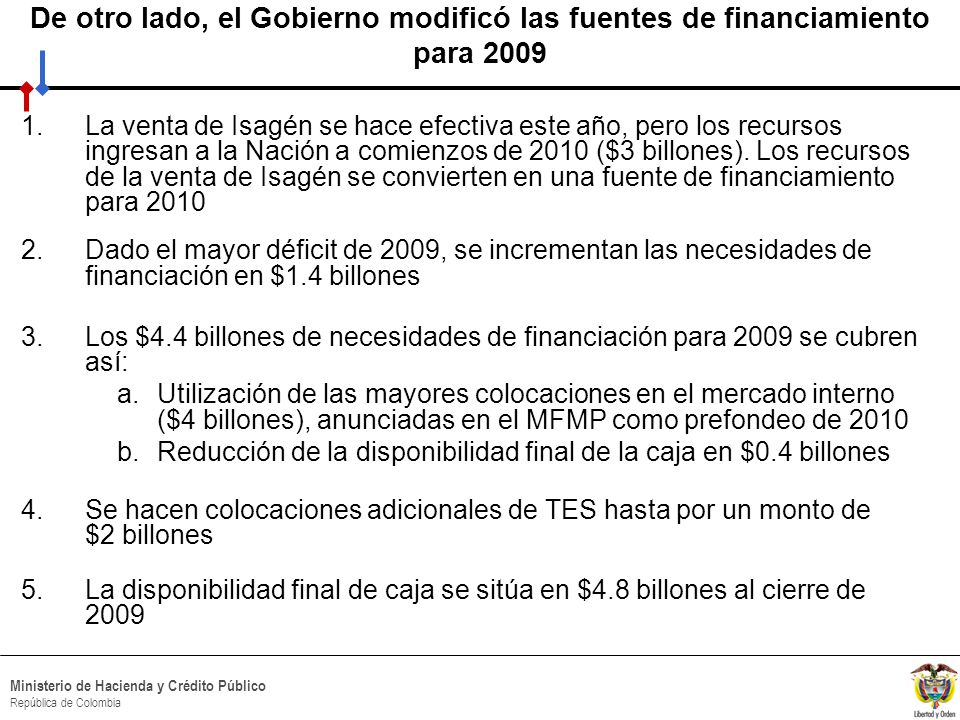 HACIA UN MINISTERIO AGIL, ACERTADO Y CONFIABLE Ministerio de Hacienda y Crédito Público República de Colombia De otro lado, el Gobierno modificó las fuentes de financiamiento para 2009 1.La venta de Isagén se hace efectiva este año, pero los recursos ingresan a la Nación a comienzos de 2010 ($3 billones).