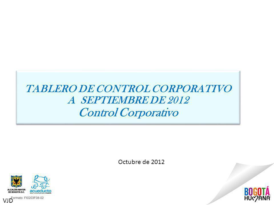 1 Octubre de 2012 TABLERO DE CONTROL CORPORATIVO A SEPTIEMBRE DE 2012 Control Corporativo TABLERO DE CONTROL CORPORATIVO A SEPTIEMBRE DE 2012 Control Corporativo VJD