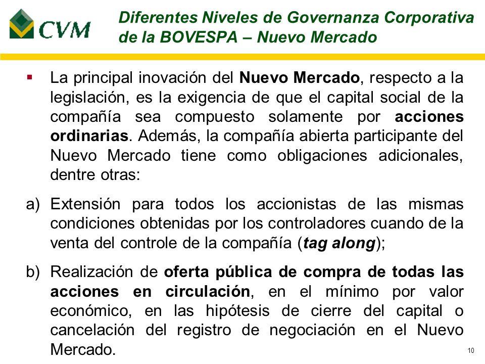 10 La principal inovación del Nuevo Mercado, respecto a la legislación, es la exigencia de que el capital social de la compañía sea compuesto solamente por acciones ordinarias.