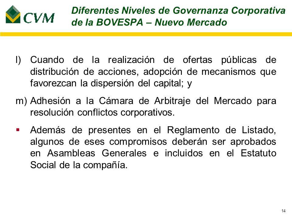 14 l)Cuando de la realización de ofertas públicas de distribución de acciones, adopción de mecanismos que favorezcan la dispersión del capital; y m)Adhesión a la Cámara de Arbitraje del Mercado para resolución conflictos corporativos.