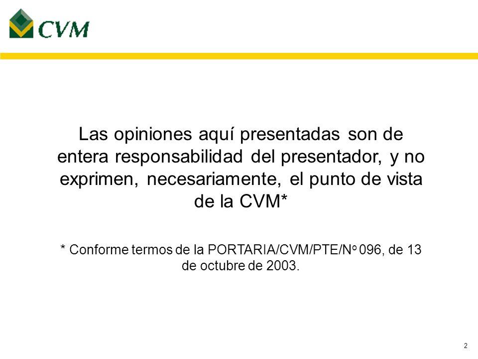 2 Las opiniones aquí presentadas son de entera responsabilidad del presentador, y no exprimen, necesariamente, el punto de vista de la CVM* * Conforme termos de la PORTARIA/CVM/PTE/N o 096, de 13 de octubre de 2003.
