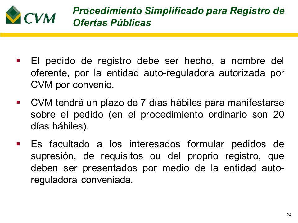 24 El pedido de registro debe ser hecho, a nombre del oferente, por la entidad auto-reguladora autorizada por CVM por convenio.