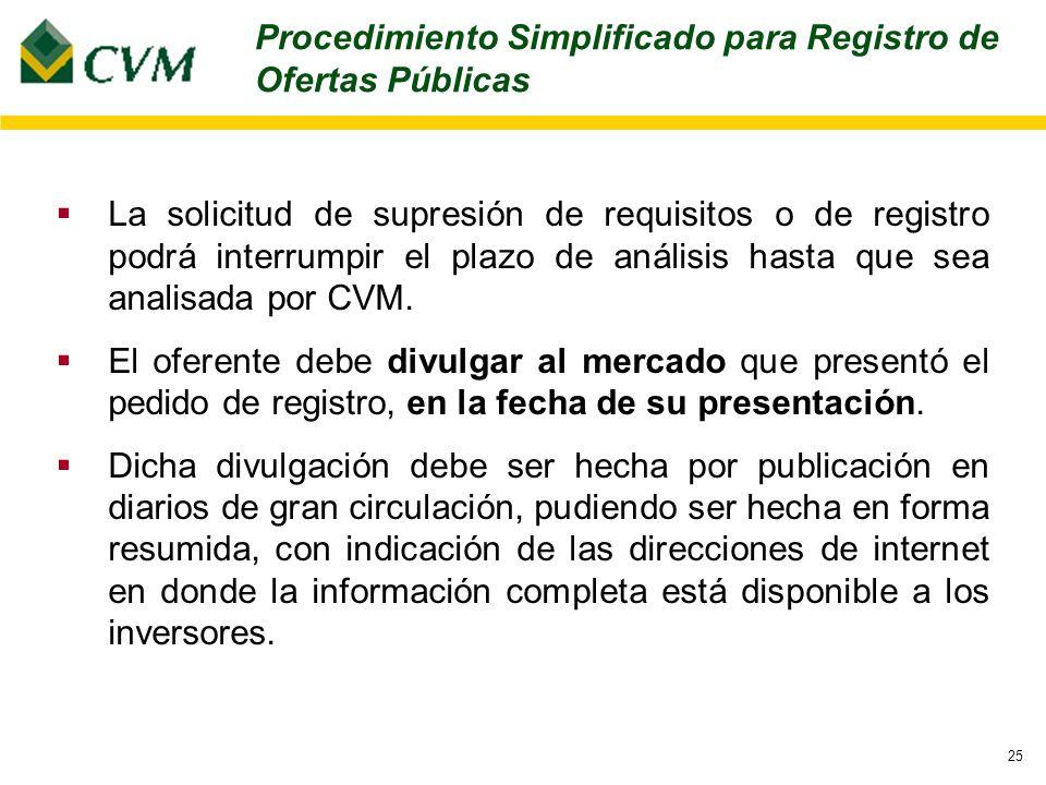 25 La solicitud de supresión de requisitos o de registro podrá interrumpir el plazo de análisis hasta que sea analisada por CVM.