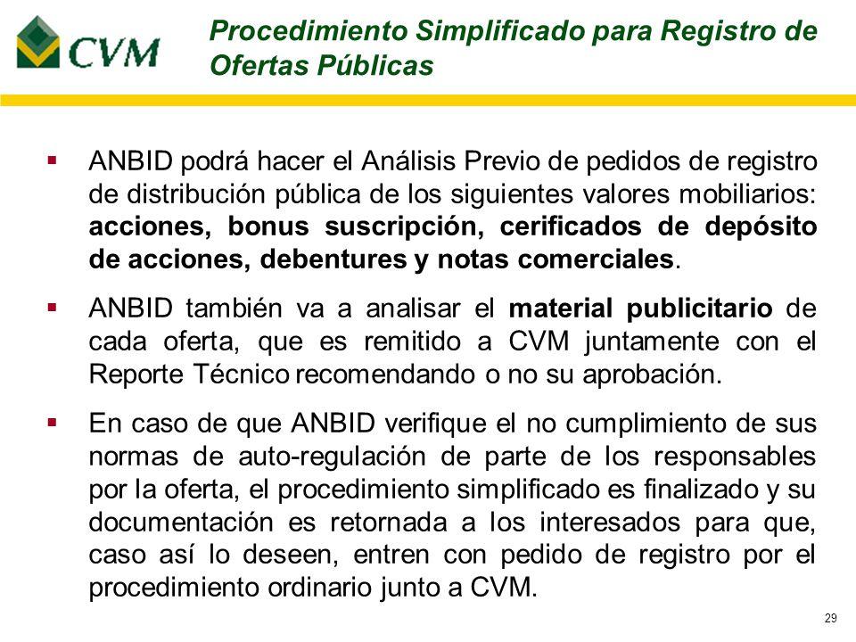 29 ANBID podrá hacer el Análisis Previo de pedidos de registro de distribución pública de los siguientes valores mobiliarios: acciones, bonus suscripción, cerificados de depósito de acciones, debentures y notas comerciales.