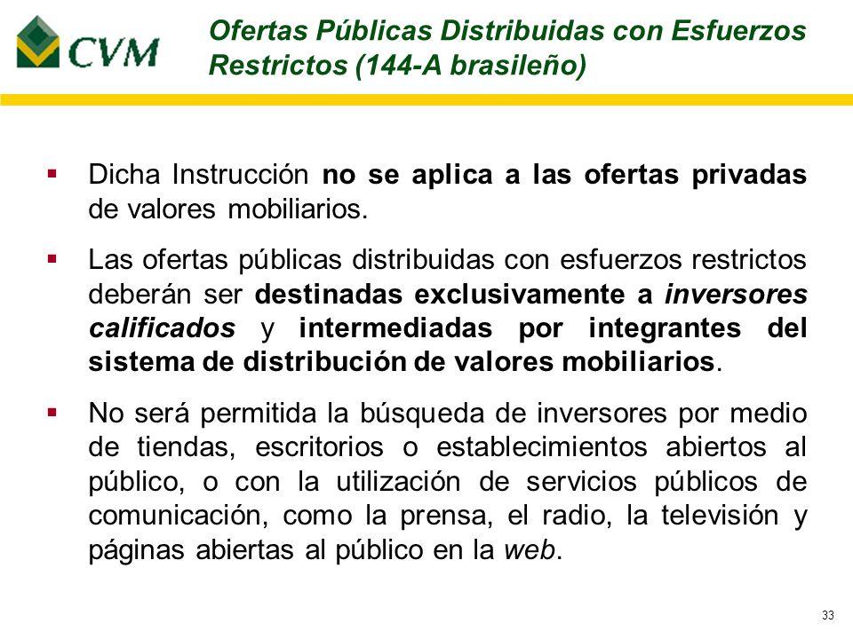 33 Dicha Instrucción no se aplica a las ofertas privadas de valores mobiliarios.