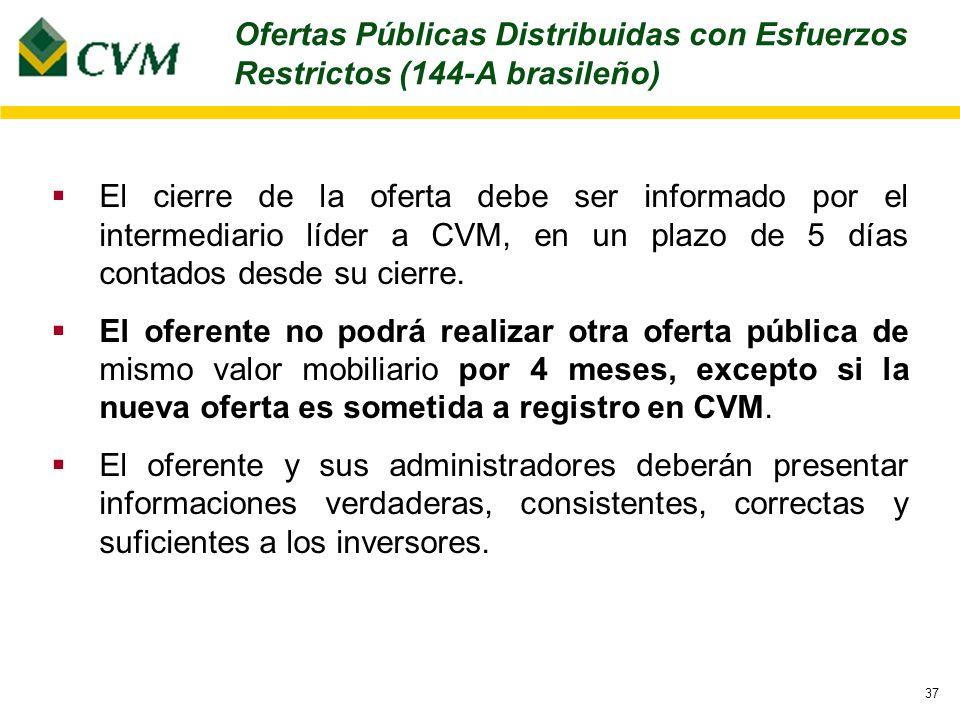 37 El cierre de la oferta debe ser informado por el intermediario líder a CVM, en un plazo de 5 días contados desde su cierre.
