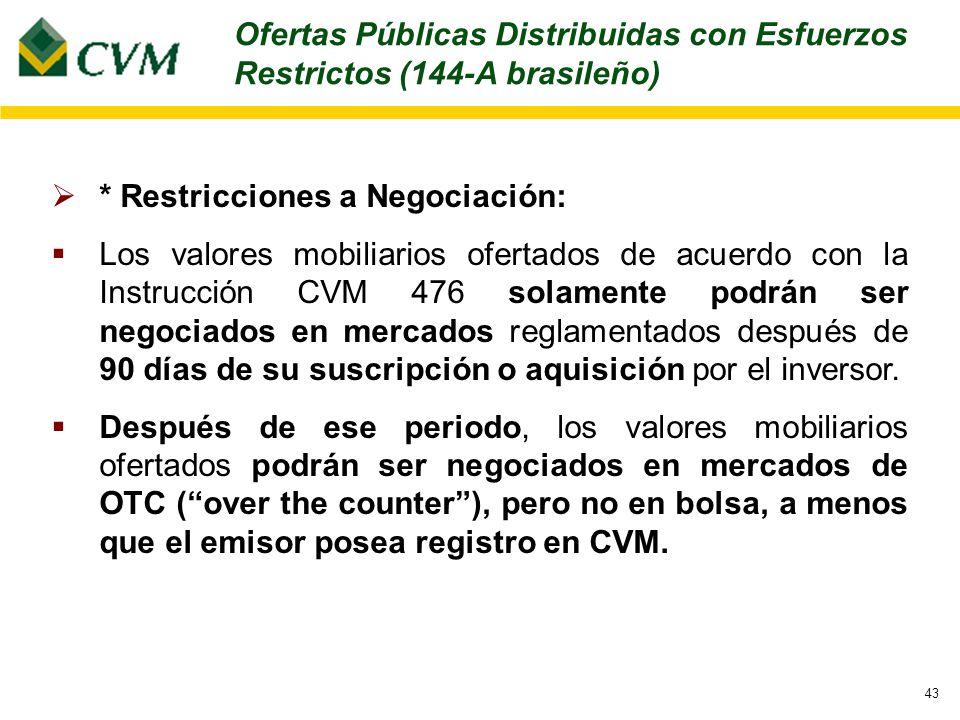 43 * Restricciones a Negociación: Los valores mobiliarios ofertados de acuerdo con la Instrucción CVM 476 solamente podrán ser negociados en mercados reglamentados después de 90 días de su suscripción o aquisición por el inversor.