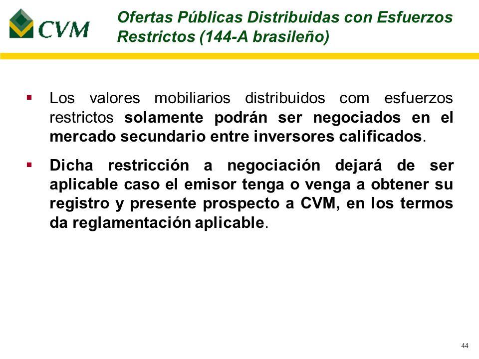 44 Los valores mobiliarios distribuidos com esfuerzos restrictos solamente podrán ser negociados en el mercado secundario entre inversores calificados.