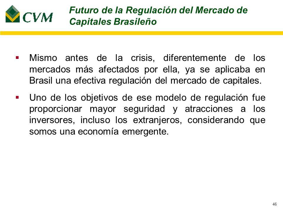 46 Mismo antes de la crisis, diferentemente de los mercados más afectados por ella, ya se aplicaba en Brasil una efectiva regulación del mercado de capitales.