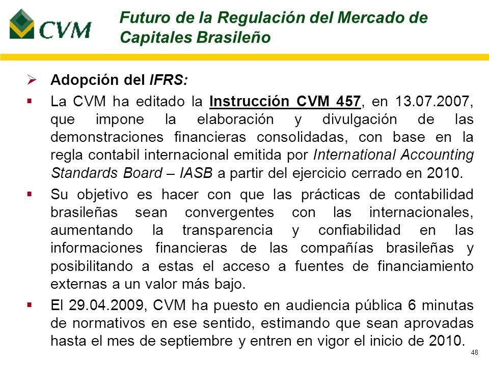 48 Adopción del IFRS: La CVM ha editado la Instrucción CVM 457, en 13.07.2007, que impone la elaboración y divulgación de las demonstraciones financieras consolidadas, con base en la regla contabil internacional emitida por International Accounting Standards Board – IASB a partir del ejercicio cerrado en 2010.
