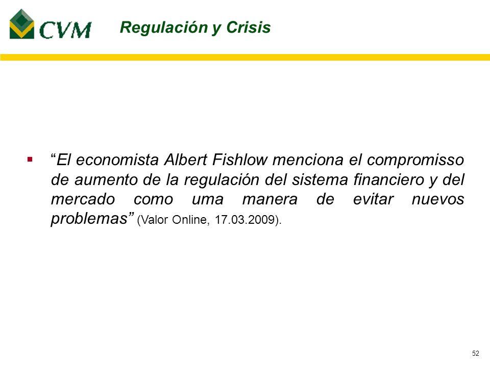 52 Regulación y Crisis El economista Albert Fishlow menciona el compromisso de aumento de la regulación del sistema financiero y del mercado como uma manera de evitar nuevos problemas (Valor Online, 17.03.2009).