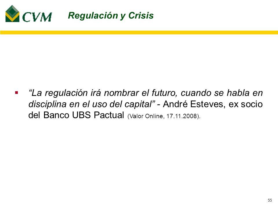 55 La regulación irá nombrar el futuro, cuando se habla en disciplina en el uso del capital - André Esteves, ex socio del Banco UBS Pactual (Valor Online, 17.11.2008).