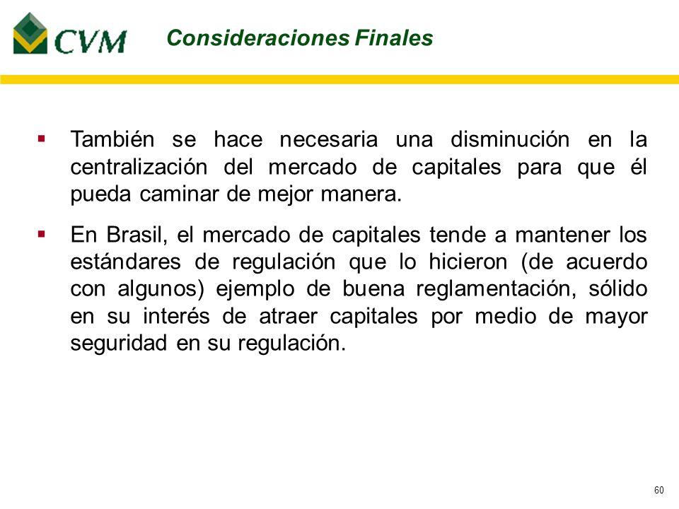 60 También se hace necesaria una disminución en la centralización del mercado de capitales para que él pueda caminar de mejor manera.