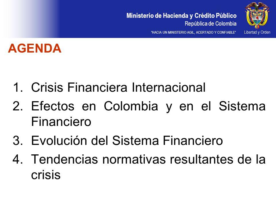 Ministerio de Hacienda y Crédito Público República de Colombia HACIA UN MINISTERIO AGIL, ACERTADO Y CONFIABLE AGENDA 1.Crisis Financiera Internacional