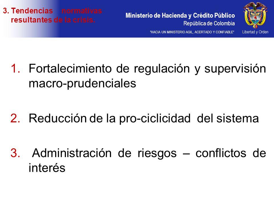 Ministerio de Hacienda y Crédito Público República de Colombia HACIA UN MINISTERIO AGIL, ACERTADO Y CONFIABLE 1.Fortalecimiento de regulación y superv