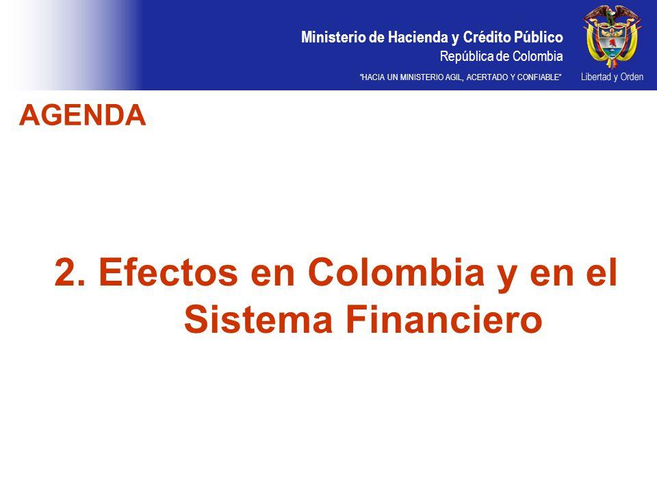 Ministerio de Hacienda y Crédito Público República de Colombia HACIA UN MINISTERIO AGIL, ACERTADO Y CONFIABLE 2. Efectos en Colombia y en el Sistema F