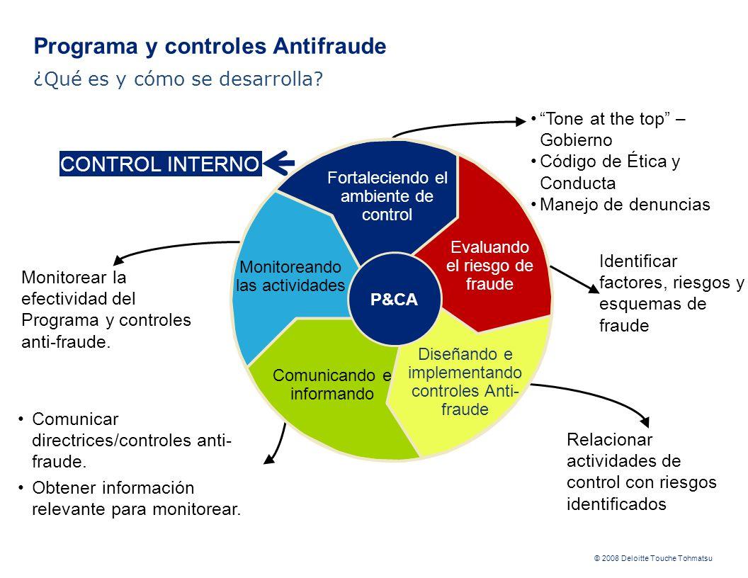 © 2008 Deloitte Touche Tohmatsu Identificar factores, riesgos y esquemas de fraude Relacionar actividades de control con riesgos identificados Comunicar directrices/controles anti- fraude.
