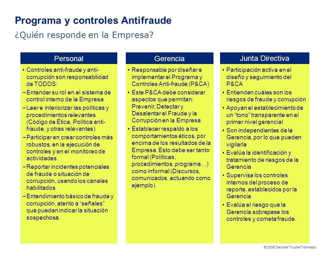 © 2008 Deloitte Touche Tohmatsu Junta Directiva Participación activa en el diseño y seguimiento del P&CA Entienden cuáles son los riesgos de fraude y