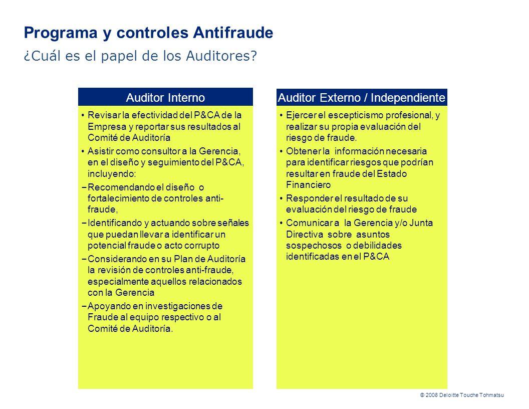 © 2008 Deloitte Touche Tohmatsu Auditor Interno Auditor Externo / Independiente Revisar la efectividad del P&CA de la Empresa y reportar sus resultado