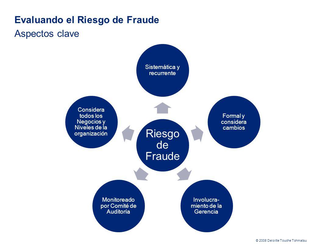 © 2008 Deloitte Touche Tohmatsu Evaluando el Riesgo de Fraude Aspectos clave Riesgo de Fraude Sistemática y recurrente Formal y considera cambios Invo