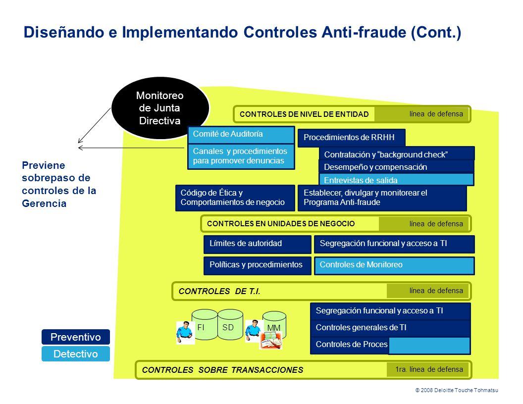 © 2008 Deloitte Touche Tohmatsu CONTROLES EN UNIDADES DE NEGOCIO CONTROLES DE T.I. FI Diseñando e Implementando Controles Anti-fraude (Cont.) MM CONTR