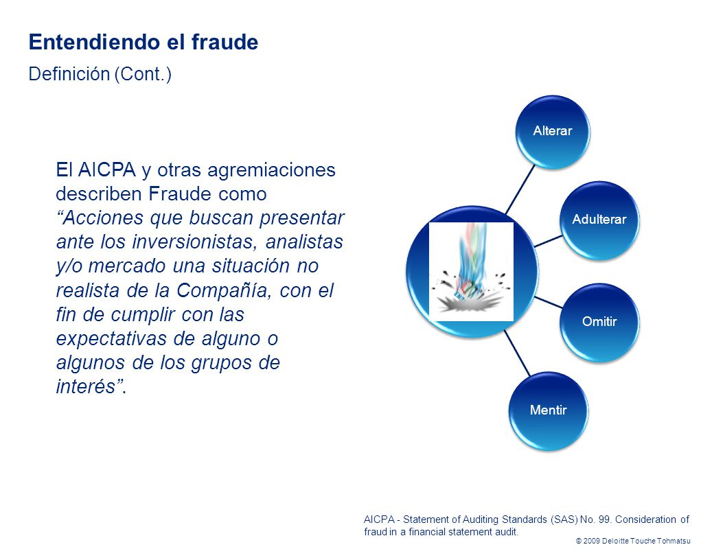 © 2009 Deloitte Touche Tohmatsu AICPA - Statement of Auditing Standards (SAS) No. 99. Consideration of fraud in a financial statement audit. Entendien