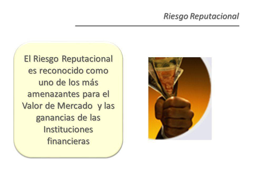 Riesgo Reputacional El Riesgo Reputacional es reconocido como uno de los más amenazantes para el Valor de Mercado y las ganancias de las Instituciones financieras