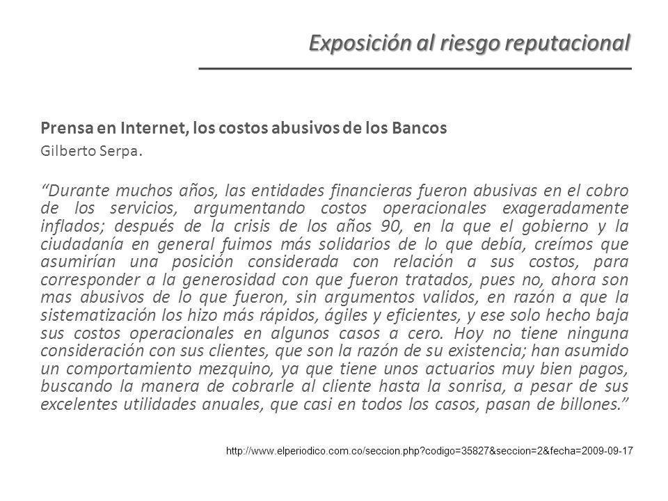 Prensa en Internet, los costos abusivos de los Bancos Gilberto Serpa.