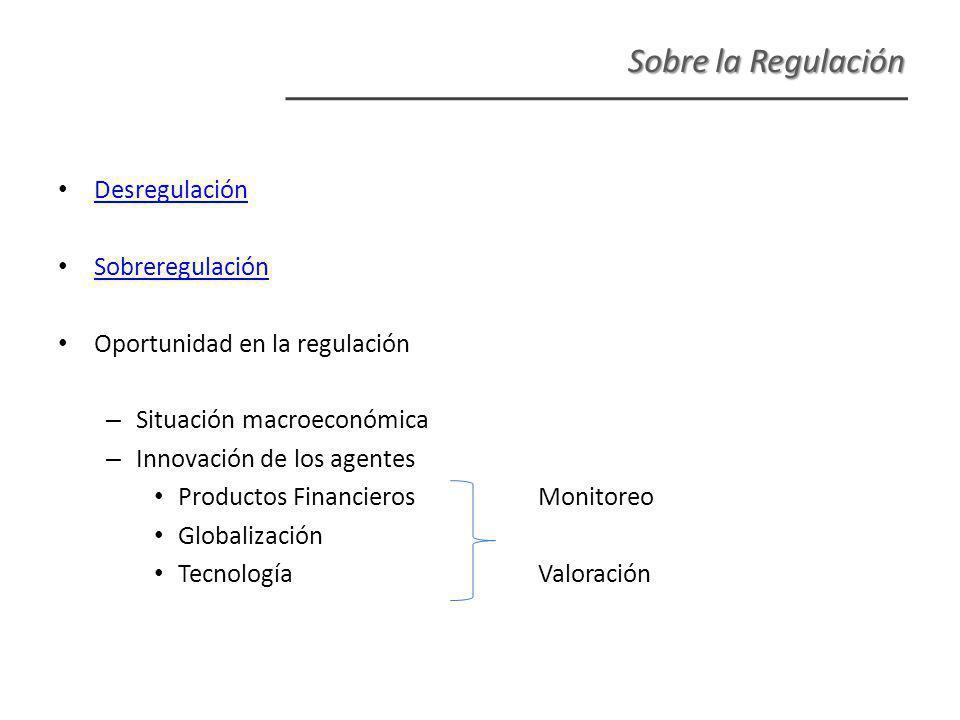 Desregulación Sobreregulación Oportunidad en la regulación – Situación macroeconómica – Innovación de los agentes Productos FinancierosMonitoreo Globalización TecnologíaValoración Sobre la Regulación