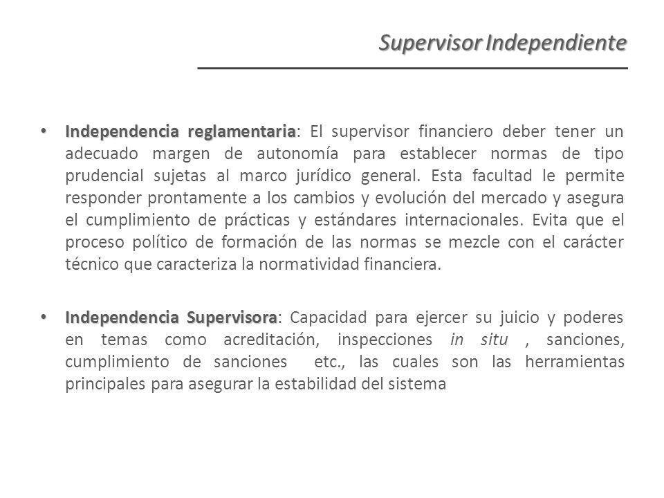 Independencia reglamentaria Independencia reglamentaria: El supervisor financiero deber tener un adecuado margen de autonomía para establecer normas de tipo prudencial sujetas al marco jurídico general.