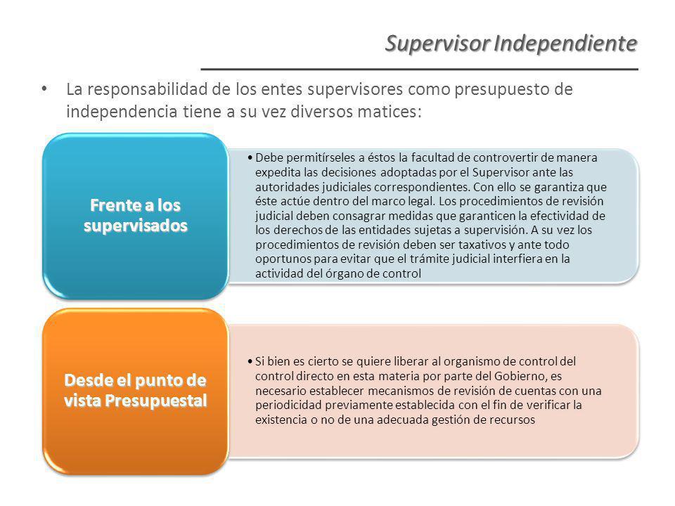 Supervisor Independiente Debe permitírseles a éstos la facultad de controvertir de manera expedita las decisiones adoptadas por el Supervisor ante las autoridades judiciales correspondientes.