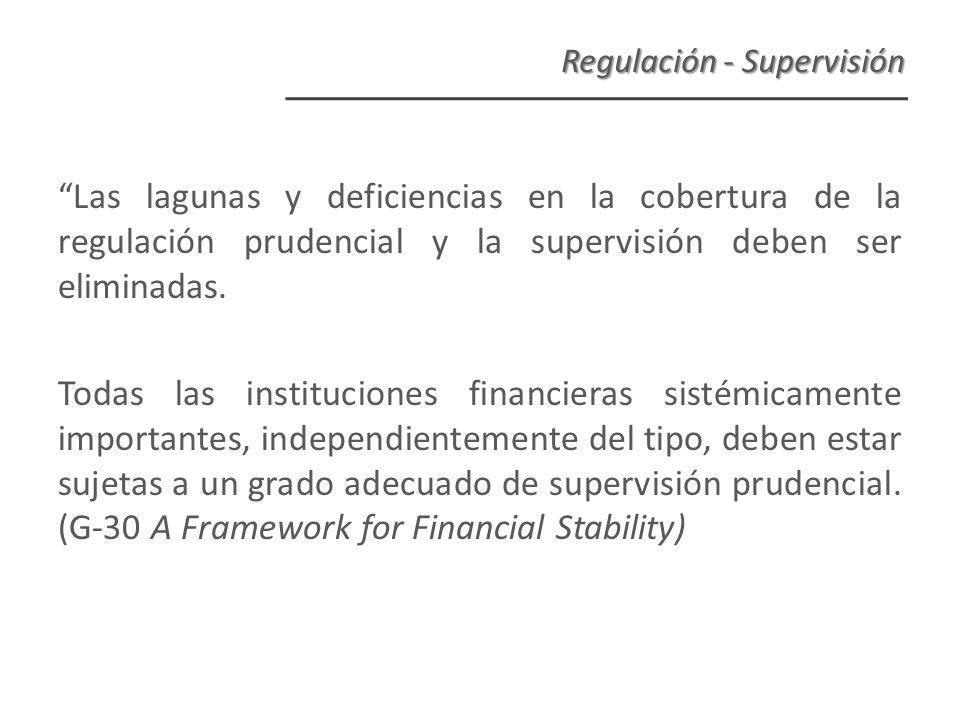 Las lagunas y deficiencias en la cobertura de la regulación prudencial y la supervisión deben ser eliminadas.