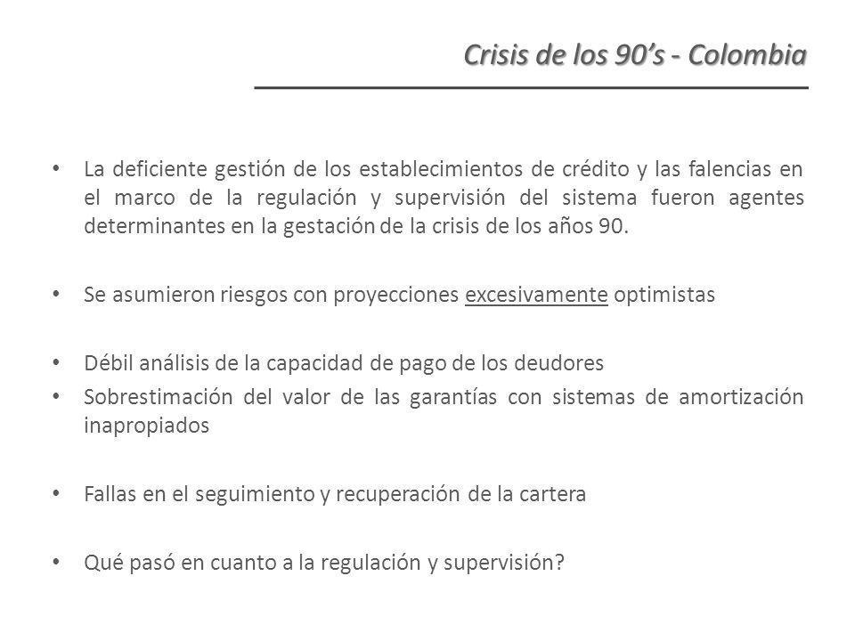 La deficiente gestión de los establecimientos de crédito y las falencias en el marco de la regulación y supervisión del sistema fueron agentes determinantes en la gestación de la crisis de los años 90.