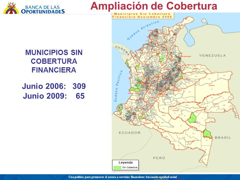 MUNICIPIOS SIN COBERTURA FINANCIERA Junio 2006: 309 Junio 2009: 65 Ampliación de Cobertura