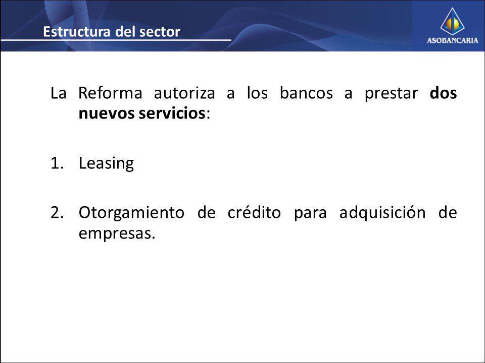 La Reforma autoriza a los bancos a prestar dos nuevos servicios: 1.Leasing 2.Otorgamiento de crédito para adquisición de empresas.