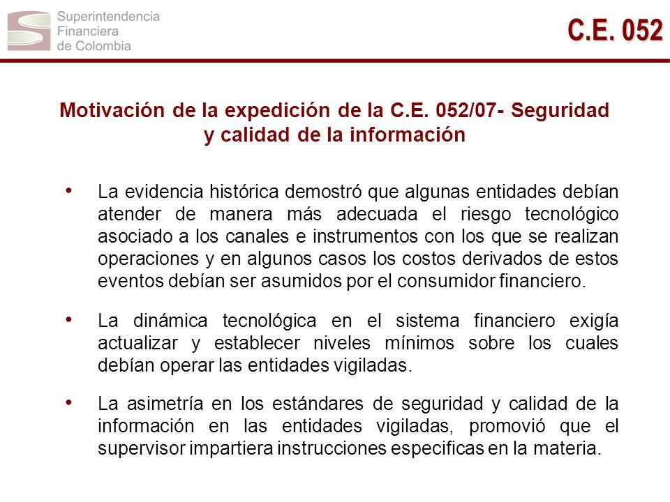 Motivación de la expedición de la C.E. 052/07- Seguridad y calidad de la información La evidencia histórica demostró que algunas entidades debían aten