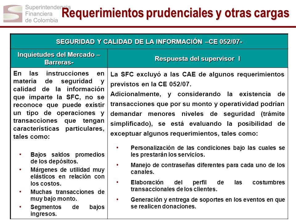 SEGURIDAD Y CALIDAD DE LA INFORMACIÓN –CE 052/07- Inquietudes del Mercado – Barreras- Respuesta del supervisor I En las instrucciones en materia de se