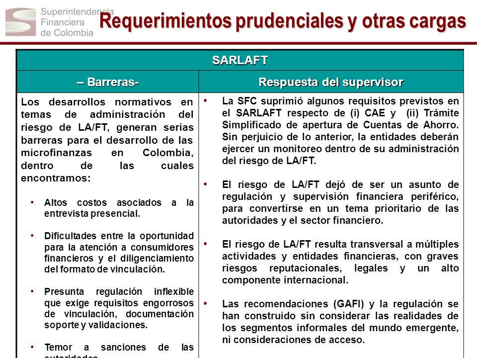 SARLAFT – Barreras- Respuesta del supervisor Los desarrollos normativos en temas de administración del riesgo de LA/FT, generan serias barreras para e