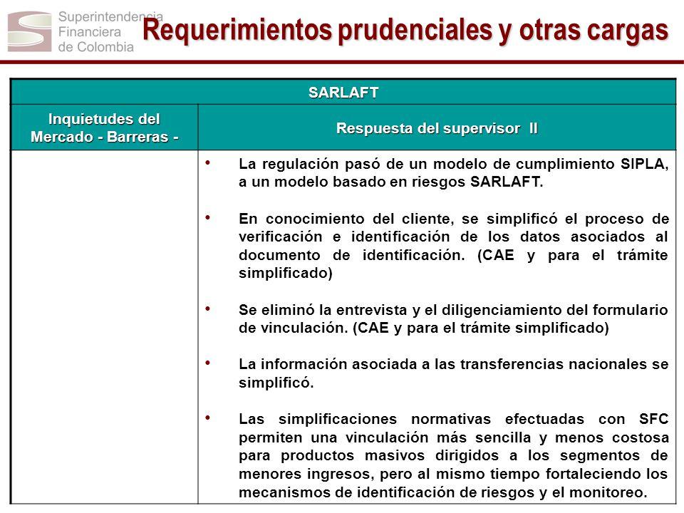 SARLAFT Inquietudes del Mercado - Barreras - Respuesta del supervisor II La regulación pasó de un modelo de cumplimiento SIPLA, a un modelo basado en