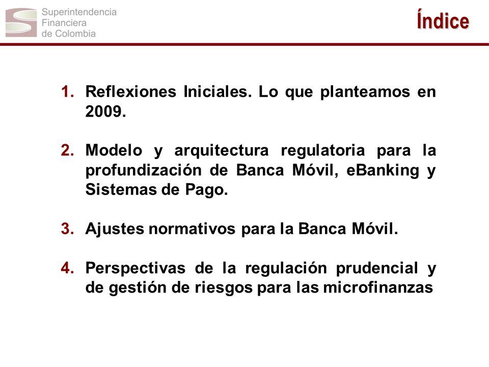 1.Reflexiones Iniciales. Lo que planteamos en 2009. 2.Modelo y arquitectura regulatoria para la profundización de Banca Móvil, eBanking y Sistemas de