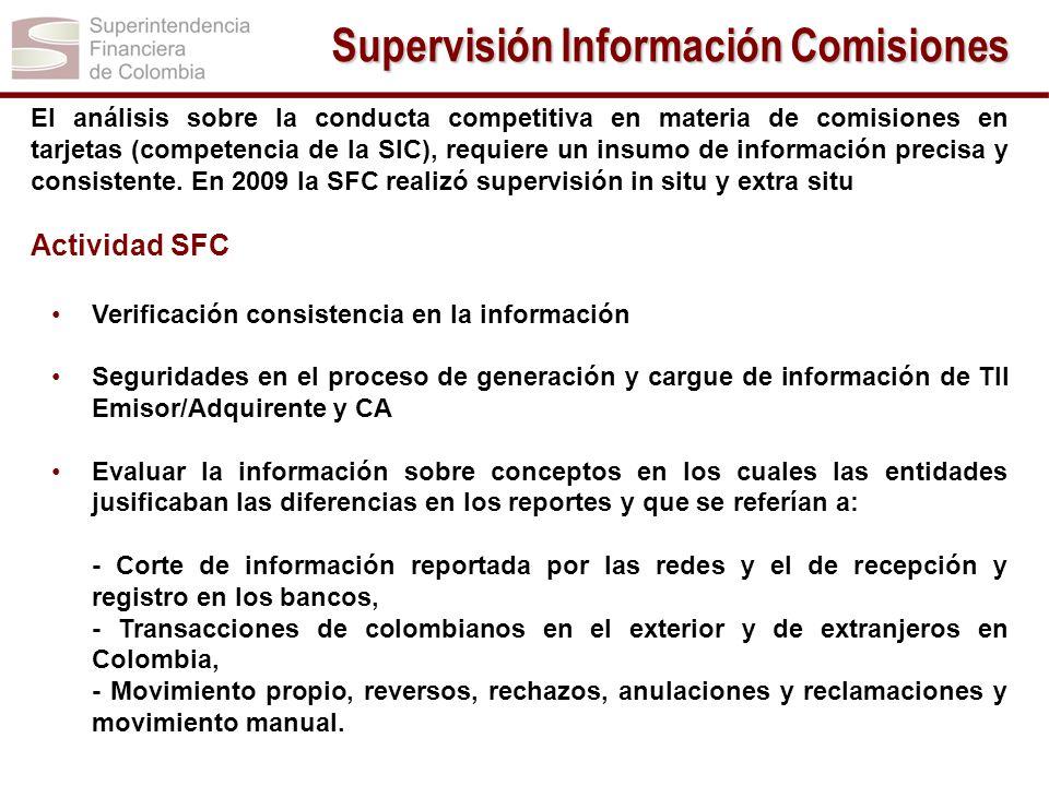 El análisis sobre la conducta competitiva en materia de comisiones en tarjetas (competencia de la SIC), requiere un insumo de información precisa y co