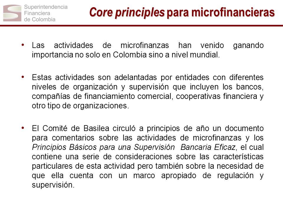 Las actividades de microfinanzas han venido ganando importancia no solo en Colombia sino a nivel mundial. Estas actividades son adelantadas por entida