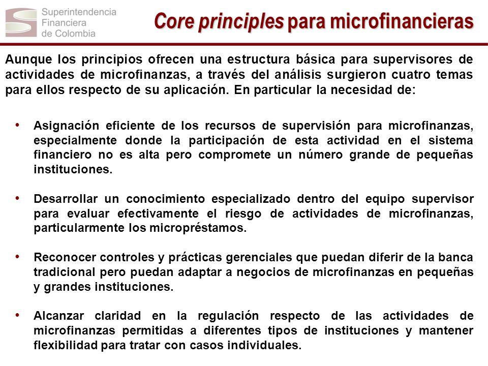 Aunque los principios ofrecen una estructura básica para supervisores de actividades de microfinanzas, a través del análisis surgieron cuatro temas pa
