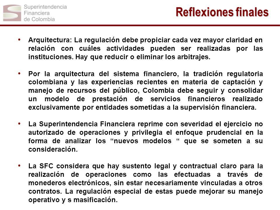 Arquitectura: La regulación debe propiciar cada vez mayor claridad en relación con cuáles actividades pueden ser realizadas por las instituciones. Hay