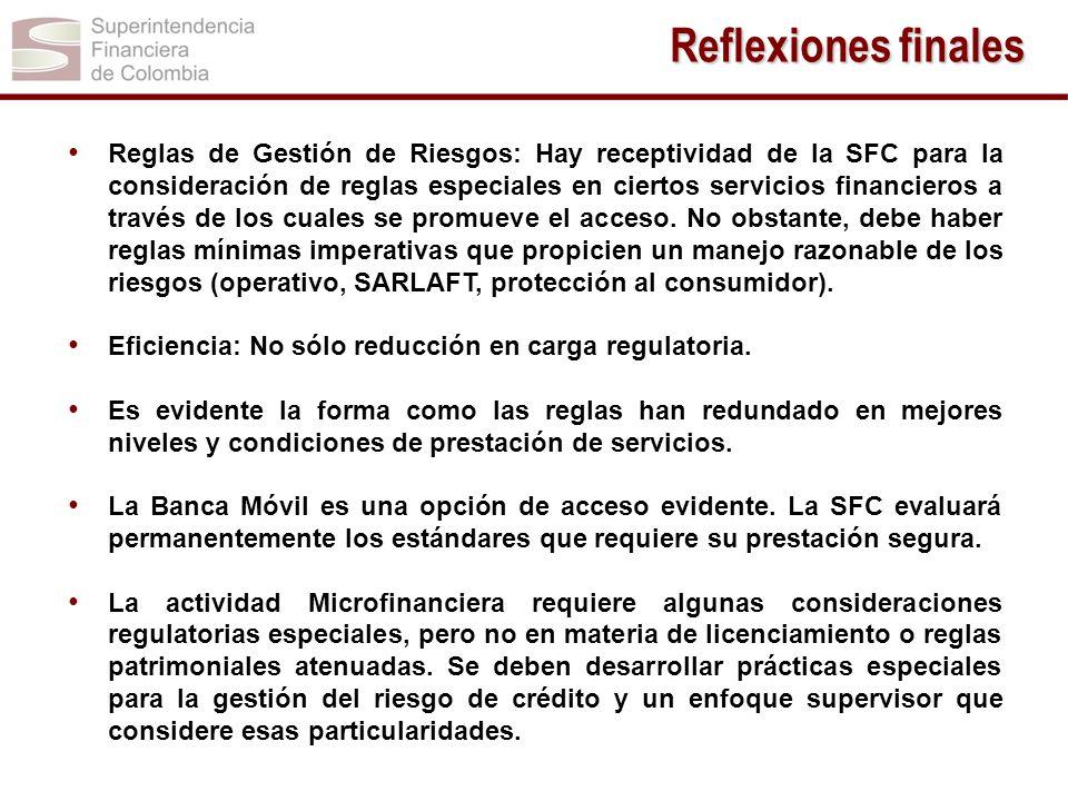 Reglas de Gestión de Riesgos: Hay receptividad de la SFC para la consideración de reglas especiales en ciertos servicios financieros a través de los c