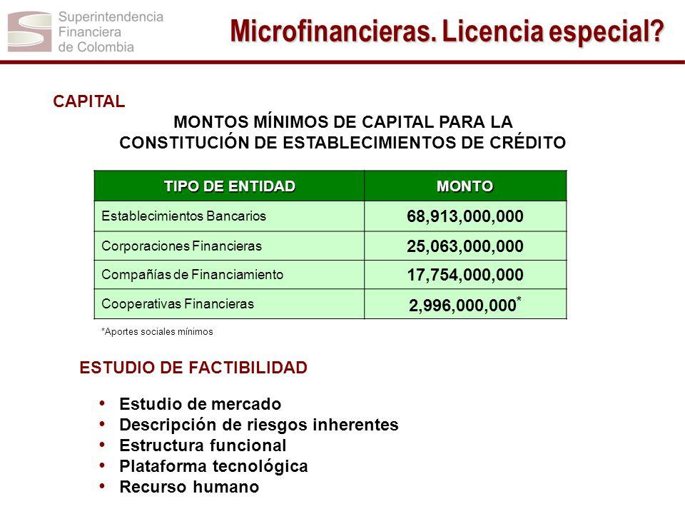 CAPITAL MONTOS MÍNIMOS DE CAPITAL PARA LA CONSTITUCIÓN DE ESTABLECIMIENTOS DE CRÉDITO ESTUDIO DE FACTIBILIDAD Estudio de mercado Descripción de riesgo