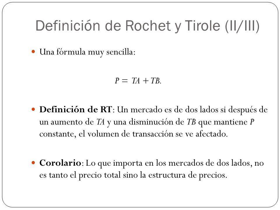 Definición de Rochet y Tirole (II/III) Una fórmula muy sencilla: P = TA + TB. Definición de RT: Un mercado es de dos lados si después de un aumento de