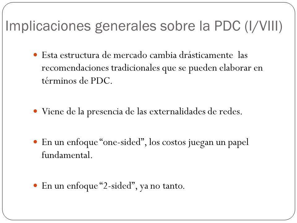 Implicaciones generales sobre la PDC (I/VIII) Esta estructura de mercado cambia drásticamente las recomendaciones tradicionales que se pueden elaborar