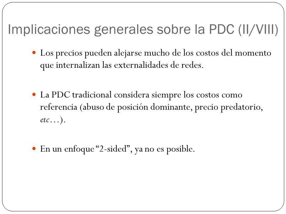 Implicaciones generales sobre la PDC (II/VIII) Los precios pueden alejarse mucho de los costos del momento que internalizan las externalidades de rede